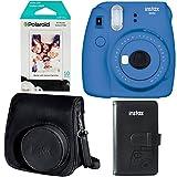 Fujifilm Instax Mini 9 Instant Camera - Cobalt Blue, Polaroid Instant Mini Film, Fujifilm Instax Groovy Camera Case - Black and Fujifilm INSTAX WALLET ALBUM 108 BLACK
