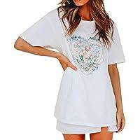 Beikoard Camisetas de Las Mujeres Estampado de Angel,Patrón,Ocio,Moda,Cuello