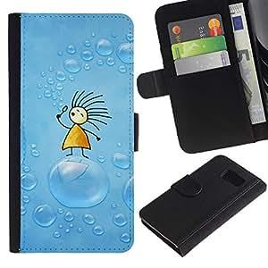 Billetera de Cuero Caso Titular de la tarjeta Carcasa Funda para Samsung Galaxy S6 SM-G920 / Soap Blue Drawing Kids Children / STRONG