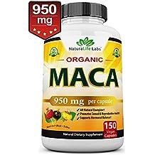 Organic Maca Root Black, Red, Yellow 950MG per capsule 150 vegan capsules Peruvian Maca Root Gelatinized 100% Pure Non-GMO supports Reproductive Health Natural Energizer