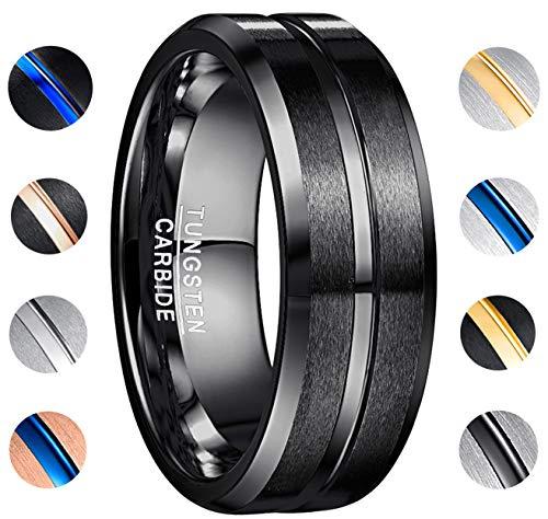 NUNCAD 8mm Black Tungsten Wedding Band Ring Men Women Beveled Edges Polished Grooved Center Comfort Fit Size 9 (Band Lightweight Plain Wedding)