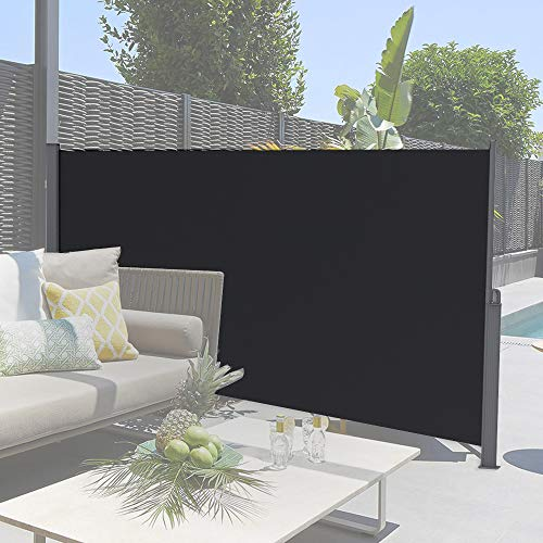 soges 63 inches H Retractable Side Awning Folding Side Screen Fence Privacy Screen Waterproof Sun Shade Wind Screen Privacy Divider for Garden, Black, XJJH-H038-316B