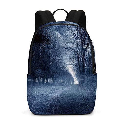Halloween Durable Backpack,Ghostly Haunted Forest Image Bleak Gloomy Misty Nature Landscape Decorative for School Travel,One_Size]()