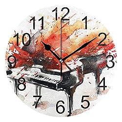 LUCASE LEMON ALEX Watercolor Splash Piano Round Acrylic Wall Clock Non Ticking Silent Clocks for Home Decor Living Room Kitchen Bedroom Office School