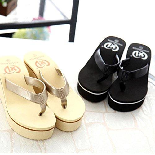 Slope Flip Bohemian Summer Sexy Sandals With Flops hunpta Sandals Muffin Women Gold B6Tw8qU