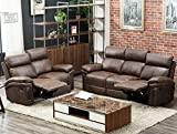 Harper&Bright Designs Bonded New-tech Farbric Sectional Recliner Sofa Set(Brown)(Loveseat&3-Seat Recliner)