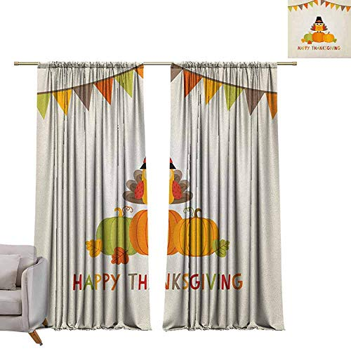 (berrly Room Darkening Wide Curtains Turkey,Little Bird Sitting on Pumpkins with Pilgrims Hat Festive Autumn Holiday Design, Multicolor W84 x L96 Thermal Insulating Blackout Curtain)