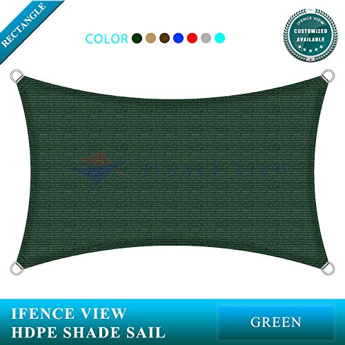 Ifenceview 10'x16′ Rectangle UV Sun Shade Sail for Patio Yard Driveway Pool Canopy A ...