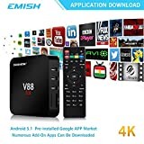 Streaming Media Players Best Deals - 4K Android Tv Box, 1080P Smart Multimedia Player, Internet Streaming Media Player Rockchip 3229 Quad Core EMMC 8GB, Game Player Fully Unlocked, Black