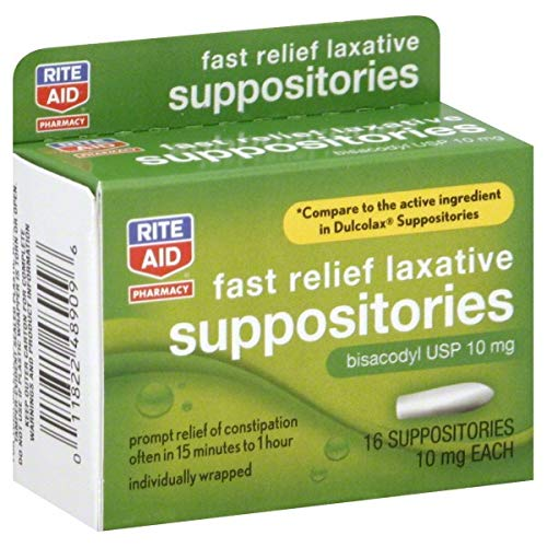 Rite Aid Pharmacy Laxative, Fast Relief, Bisacodyl USP 10 mg, Suppositories, 16 - 10 Suppositories