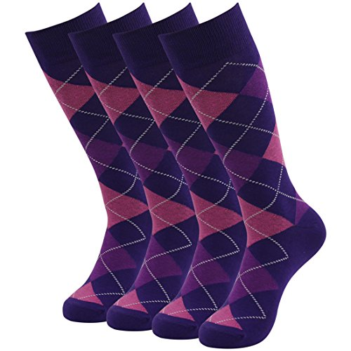 - Mens Dress Socks, SUTTOS Men's Wedding Socks Groomsmen Socks Purple Argyle Plaids Cotton Crew Socks Groomsmen Gifts Cotton Blend Business Dress Socks Fun,Funky and Colorful Pattern Dress Socks Father's Day Socks Gifts for Father Dad Him Husband Boyfriend 4 Pair
