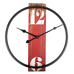 Home Decor Clock,14 Inch Retro Clock with Metal Frame and Wood dial, Silent Battery Operated Wall Clock for Home,Living Room,Bedroom,Kitchen,Cafe and Bar Art Decor - Red