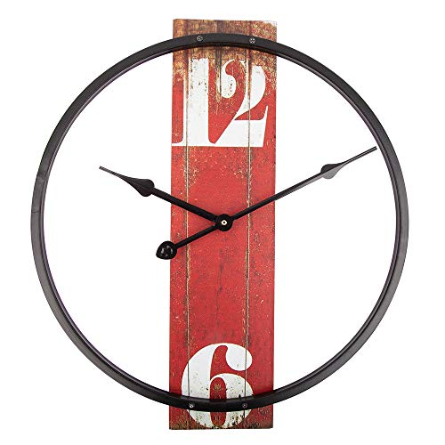 - Home Decor Clock,14 Inch Retro Clock with Metal Frame and Wood dial, Silent Battery Operated Wall Clock for Home,Living Room,Bedroom,Kitchen,Cafe and Bar Art Decor - Red