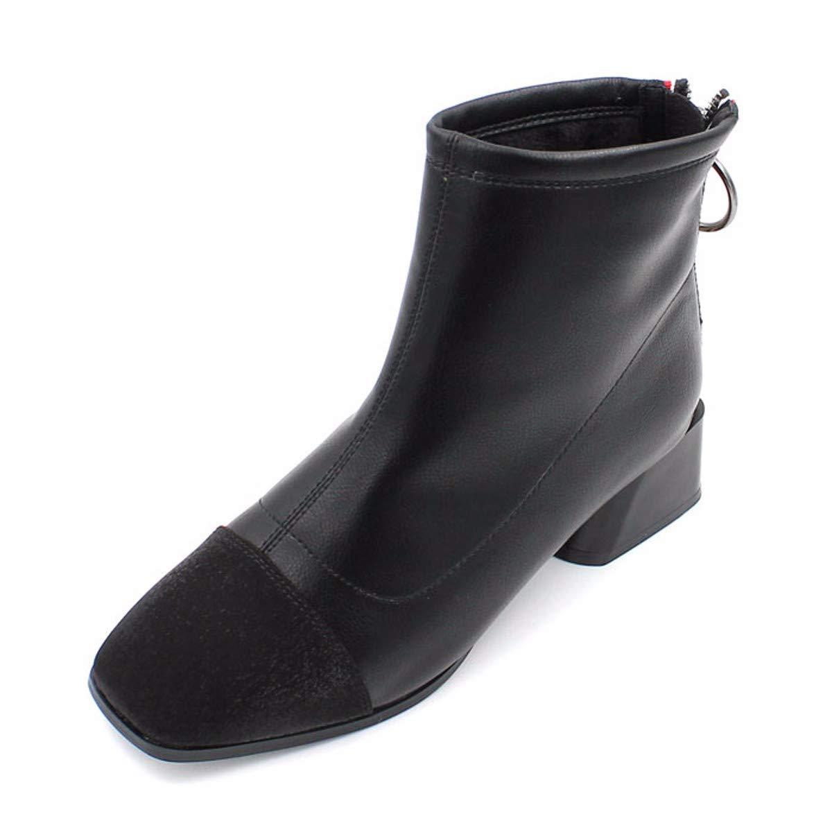 noir Thirty-seven HBDLH Chaussures pour Femmes Les Bottes La Hauteur du Talon Gros Talon Martin 4 Bottes en Hiver des Couleurs en Pleine Tête voiturerée Talon Court Bottes