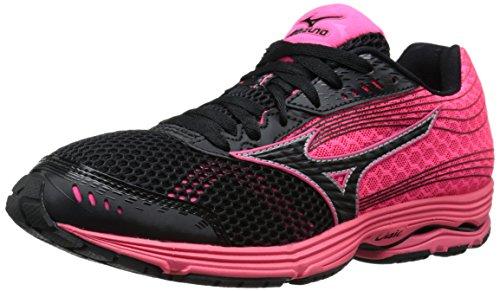 Mizuno Women's Wave Sayonara 3 Running Shoe, Black Neon Pink, 9.5 B US