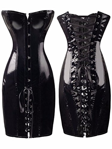 Sexy Womens Bodysuits Faux Leather Corset Fetish Dress