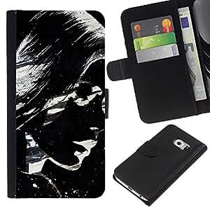 KLONGSHOP // Tirón de la caja Cartera de cuero con ranuras para tarjetas - Impresionante Chica Blanco y Negro - Samsung Galaxy S6 EDGE //
