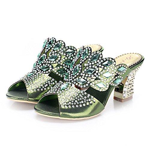 unicrystal Zapatos de parte trasera abierta sandalias Mules Diamante. Tacón para mujer Verde