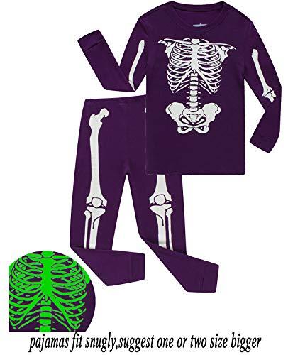 Babyroom Boys Cotton 2 Piece Halloween Skeleton Glow in thedark Costumes Toddler Pjs 5T ()