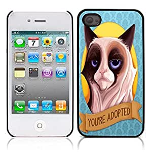 LJF phone case Grumpy Cat Hard Plastic and Aluminum Back Case for Apple iphone 4 4S