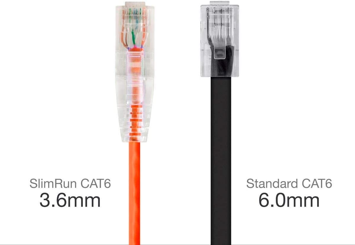 Snagless RJ45 Stranded 550MHz UTP CMR Riser Rated Pure Bare Copper Wire 28AWG SlimRun Series Orange Monoprice Cat6 Ethernet Patch Cable 30 feet