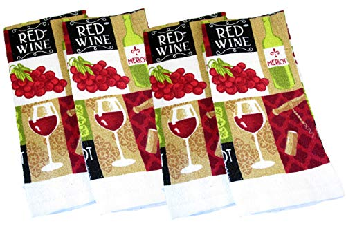 Napa Valley Wine Country Kitchen Linens Gift Set - Dish Towels, Oven Mitts, and Pot Holders (Red Wine - Glass, Bottle, Cork Screw, 4 PC)