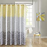 Grey and Yellow Shower Curtain Intelligent Design ID70-790 Adel 100% Microfiber Printed Shower Curtain 72x72 Yellow, 72 x 72,