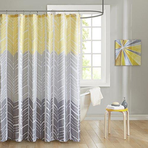 Intelligent Design ID70-790 Adel 100% Microfiber Printed Shower Curtain 72x72 Yellow, 72 x 72, (Chevron Yellow Curtain)