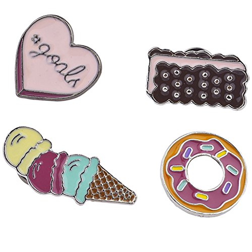 Lux Accessories Emoji Ice Cream Bar Doughnut Sweet Junk Food Enamel Pin Set -
