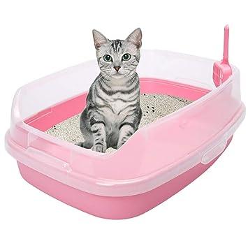 QIQI 62 * 46 * 23 Cm Caja De Arena para Gatos Artículos De Aseo para Gatos Artículos para Mascotas Gato con Pala para Gatos (Color : Pink): Amazon.es: Hogar