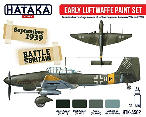 Hataka Hobby HTK-AS02 WWII German Early Luftwaffe Paint Set Acrylic 4 Colors 17ml Bottles Model Kit Plastic Figures Toy ()