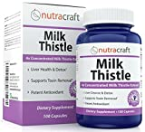 #1 Silymarin Milk Thistle Extract – 4x Concentrated 1000mg Milk Thistle Supplement for Liver Cleanse & Detox – Easy to Swallow – Made in USA – 100 Capsules – 100% Money Back Guarantee