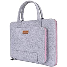 Ropch 13 13.3 Inch Felt Laptop Sleeve Notebook Computer Case Carrying Case Bag Pouch with Handle for Girls / Teens / Women / Ladies, Grey & Pink