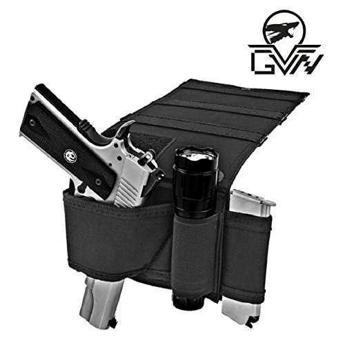 GVN-Under-Mattress-Bed-Gun-Holster-Tactical-Adjustable-Bedside-Handgun-Holster-Under-Car-Seat-Pistol-Holder-Closet-Wall-Hanging-Holster-with-Tactical-Flashlight-Loop-Magazine-Holder