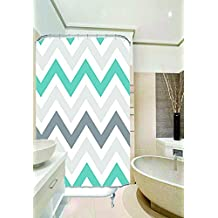 "Chevron Fabric Shower Curtain - 54"" x 78"", Grey/Aqua"