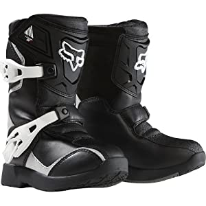 Fox Racing Pee Wee Comp 5K Youth Boys Off-Road/Dirt Bike Motorcycle Boots - Black/Silver / Size 13