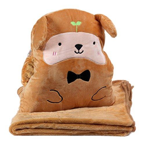 KOSBON 3 In 1 Cute Cartoon Velvet Plush Coral Fleece Throw Pillow and Air Conditioning Car Blanket Cushion Set. (Dog)