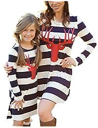 NANYUAYA Mom and Me Stripe Deer Print Long Sleeve Dress Look Matching Family Clothing
