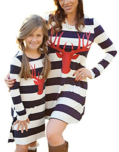 Mommy and Me Fashion Stripe Deer Print Long Sleeve Dress Matching Family Clothes ()
