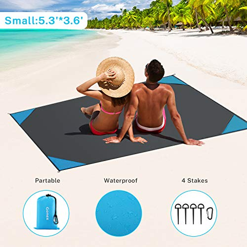 "Gonex Sand Proof Beach Blanket, Waterproof Sand Free Compact Beach Mat Lightweight with Carry Pouch, Stakes, Carabiner for Outdoor, Blue 62""x43"""