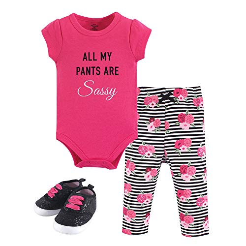Little Treasure Unisex Baby Bodysuit, Pant and Shoes, Sassy Pants, 3-Piece Set, 3-6 Months (6M) ()