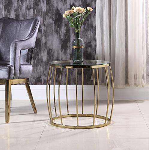 Iconic Home FST9096-AN Ponte Side Table Finished Solid Metal Bowed Spindle Round Base Glass Top Modern Contemporary Gold