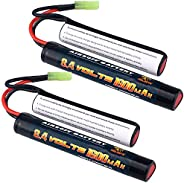 Melasta 2Pack 2/3A 8.4v 1600mAh Butterfly Nunchuck NIMH Battery Pack with Mini Tamiya Connector for Airsoft Gu