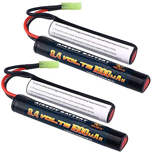 Paquete de batería Melasta 2Pack 2 / 3A 8.4v 1600mAh Butterfly Nunchuck NIMH con conector Mini Tamiya para pistolas Airsoft
