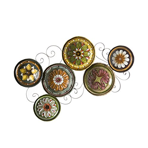 Scattered Italian Plates Wall Art - Multicolored Floral Designs - Durable Metal