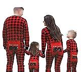 Happyjiu Family Matching Christmas Pajamas Long Sleeve Plaid Family Pajamas (7-8 T, Baby)