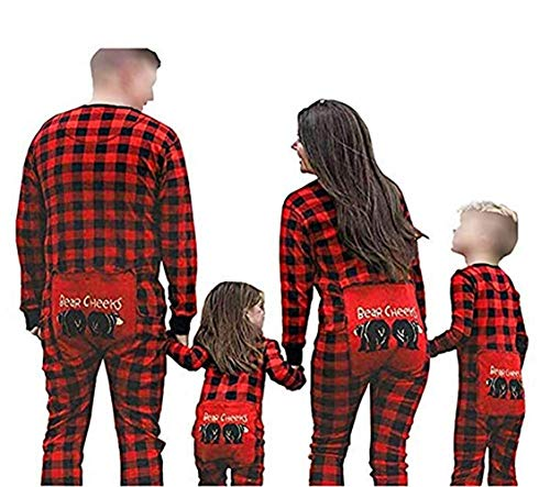 Happyjiu Family Matching Christmas Pajamas Long Sleeve Plaid Family Pajamas (11-12 T, Baby)