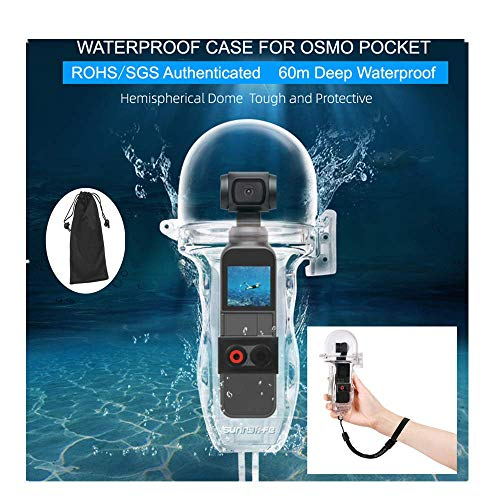 AMOUSTORE Waterproof Housing Shell Case Filter Kit for DJI OSMO Pocket Gimbal Camera, Underwater Diving Case Transparent Protective Cover Session Action Camera Accessories 197ft/60M (Best Camera For Underwater Photography 2019)