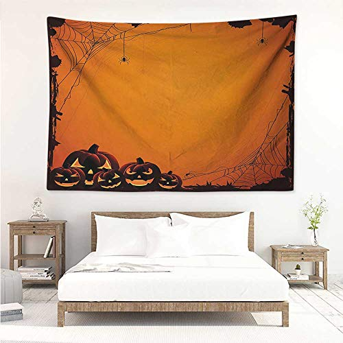 alisos Halloween,Wall Decor Tapestry Grunge Spider Web Jack o Lanterns Horror Time of Year Trick or Treat Print 93W x 70L Inch Tapestry Wallpaper Home Decor Orange Seal Brown]()