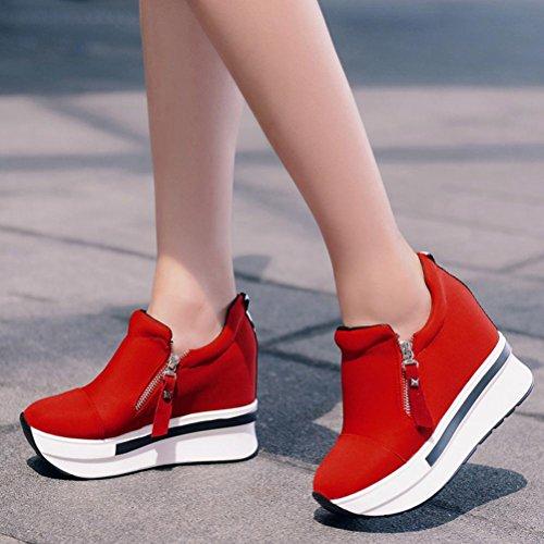 Donne Calde Di Vendita Di Amiley Zeppe Stivali Piattaforma Scarpe Antiscivolo Su Scarpe Alla Caviglia Moda Scarpe Casual Rosso